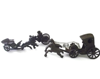 Vintage Cast Iron Horse, Buggy, Carriage, Toys For Parts