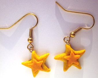 Glitter Star Earrings, Star Earrings, Star Jewellery, Polymer Clay Yellow Earrings, Polymer Clay Jewelry, Star Jewelry, Twinkle Star Earring