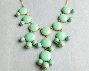 27mm GOLD BIGbubblesmooth Necklace -Hot Popular/Mint green smooth bubble necklace,chunky statement necklace,bridal bridesmaid party necklace