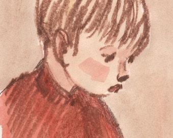 Portrait of a Boy - Original Watercolor