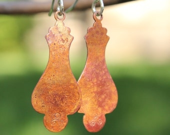 Rustic hammered copper & sterling silver unique handmade earrings