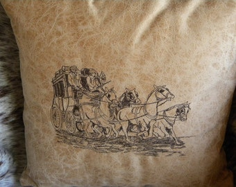 Stage Coach Pillow, Western Pillow, Decorative Pillow, Embroidered Pillow, Western Decor, Tan Pillow, Faux Leather Pillow, Cowboy Pillow