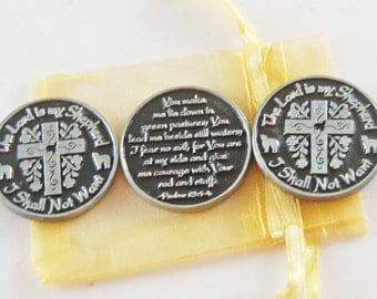 Set of 3 The Lord is My Shepherd Pocket Tokens with Organza Bag