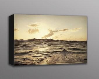 12x18 Sunset Surfboard Photo Canvas Print  Hawaii Surfing Home Decor