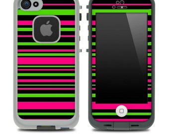 Neon Striped Skin for the iPhone 4/4s or 5 LifeProof Case