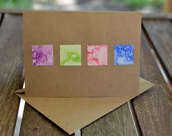 Bubble Paint Squares Blank Notecards with Envelopes - Set of 6