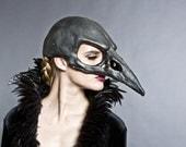 Bird skull mask in a black graphite finish