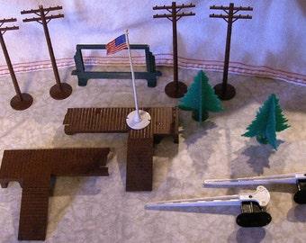 Plasticville Railroad Pieces - Trees, billboard frame, telephone poles, etc.