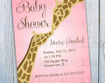 Printable Baby Shower Invitation, INSTANT DOWNLOAD Giraffe Baby Shower, DIY Baby Shower printable, Printable Invitation, Giraffe Invitation