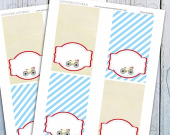 INSTANT DOWNLOAD Vintage Bicycle Baby Shower, Food Labels, Place Cards, Printable Tent Cards, Bicycle Party, Printable Party Decorations