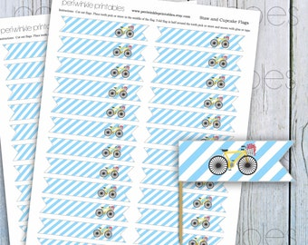 INSTANT DOWNLOAD, Printable Straw Flags, Baby Shower Cupcake Flags, diy bicycle party decor, vintage bicycle party, Cupcake Topper Flag