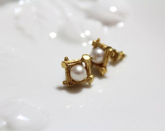 Gold Toned Artificial Pearl Earrings