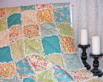 Baby Rag Quilt, Crib Quilt, Toddler Quilt, Nursery Blanket, Snug As A Bug-Riley Blake, 35 X 48. Aqua, Green, Yellow, Handmade, Ready to Ship