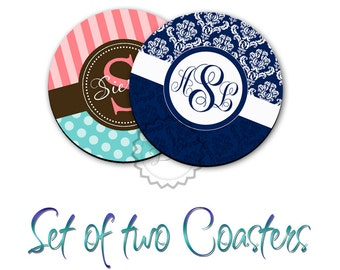 Two Personalized Rubber Coasters - Monogrammed polyester coffee cup coasters, with any of our design