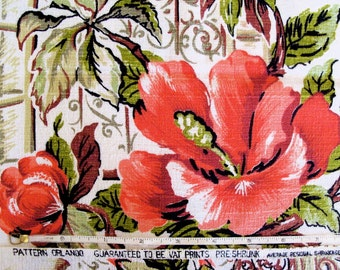 Vintage 40s Hibiscus Window Cotton Barkcloth Fabric