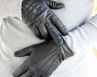 "Men's Handmade black leather gloves made with sheep skin leather and inside wool. The ""Gentleman's touch"""