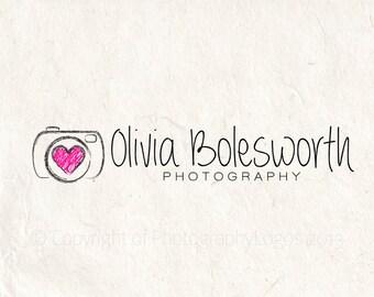 Photography logo design photography watermark camera heart logo. Instant download psd DIY logo template
