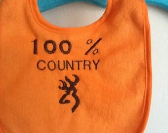 Orange Browning Country Terry Cloth Baby Bib