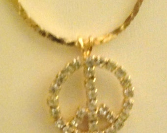 Goldtone Clear Rhinestone Peace Sign Necklace