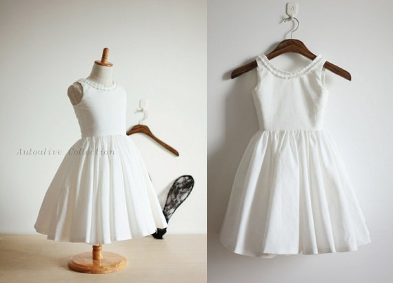 Vintage Inspired Ivory Cotton Flower Girl Dress Baby Girl Toddler Dress with Buttons