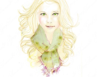 Girl wearing Green Scarf -Printable Digital Download