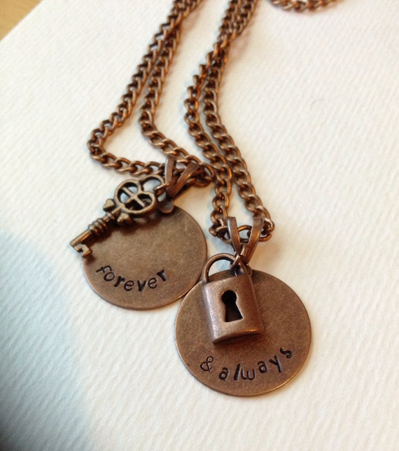 Custom hand stamped necklace set with lock and key charms for Couples matching jewelry sets