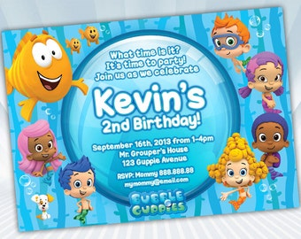 Bubble Guppies Invitation - Blue or Pink