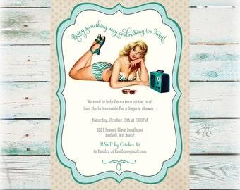 Teal Pin-Up DIY Bridal Shower Invitation - Digital File
