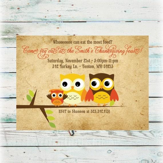 Printable Owl Thanksgiving Dinner Invitation Digital File