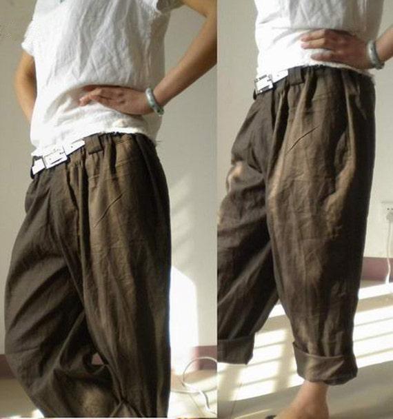 008Boyfriend Style Women's Linen pants Boyfriend by EDOA on Etsy