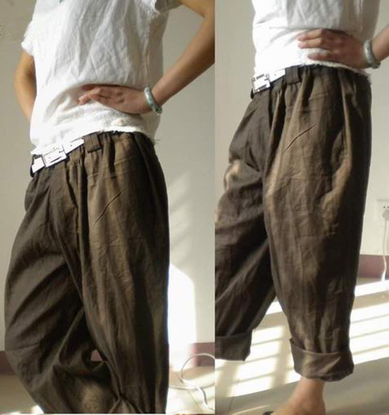 008Boyfriend Style Women's Linen pants Boyfriend