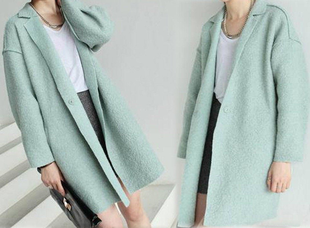 106Women's Boiled Wool Tulip Cocoon Mint Coat