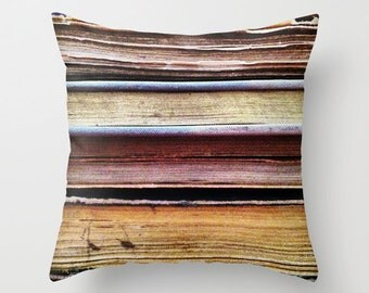 Old Books, Abstract Pillow Cover, 16x16, 18x18, 20x20, home decoration, brown, lines, linear, vintage