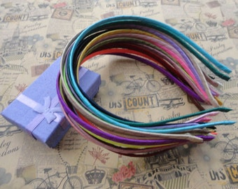 Satin Covered --20pcs 5mm assorted colors metal headband with bent end wholesale--H1068