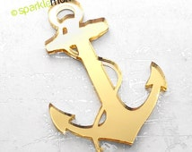 Large Anchor Pendant - 1 piece, gold mirror, laser cut acrylic, nautical, cabochon