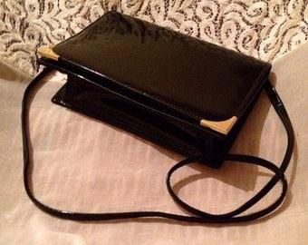 Vintage Black Patent Clutch Purse/Handbag By Janette