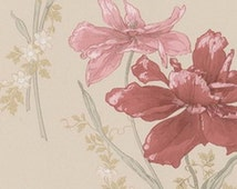 Chic Belle Fleur Floral Wallpaper - Large Pink Flower on Cream, Garden - By The Yard - BF26847