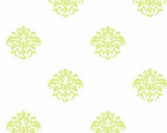 Bright Green on White Petite Dotted Medallion Damask - Lime, Contemporary Classic, Scroll, Teen Girl Wallpaper - By The Yard - KD1716