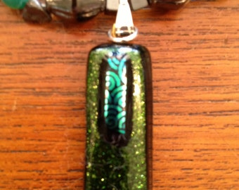 Green and Aqua Dichroic Glass Pendant Necklace/Earrings