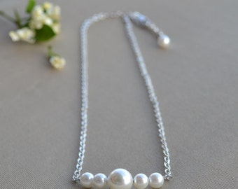 pearl chain necklace,ivory pearl necklace,5 pearls necklace, Wedding party,ivory necklace,pearl and chain,wedding necklace,wedding jewelry