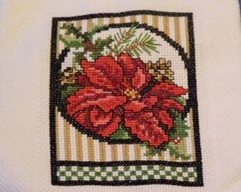 Poinsettia Cross Stitch Towel