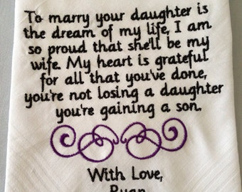 Personalized Handkerchief mother of the bride gift from groom