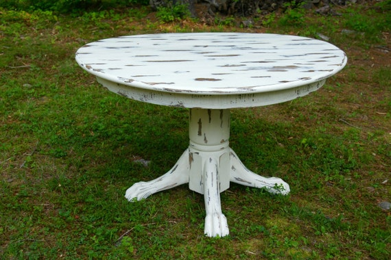 Items Similar To Shabby Chic Cottage Clawfoot Dining Table