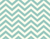 skinny chev pool Organic Cotton KNIT by Birch Fabrics - chevron aqua blue interlock jersey 1/2 yard