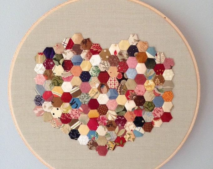 Medium Confetti Heart Issue 01 - English Paper Piecing Hoop Art