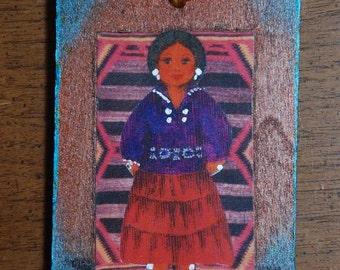 Navajo Girl Southwestern Wood Ornament