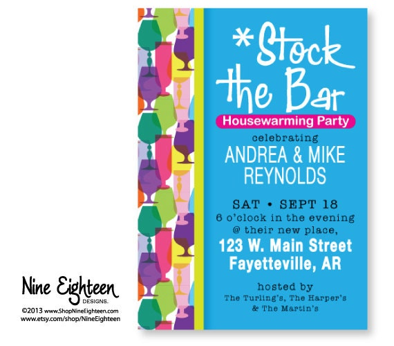 stock the bar housewarming party invitations | alesi, Party invitations