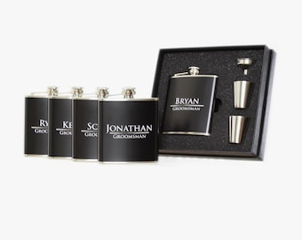 Personalized Groomsmen Flasks Box Set of 5 for Wedding Favors Black Color