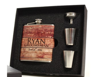 Liquor Flasks, Set of 7, Personalized Groomsmen Gifts, Rustic Wedding