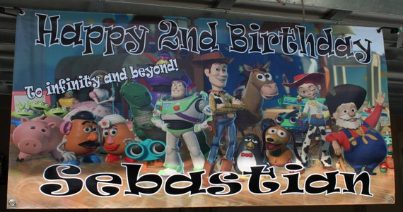 Personalized birthday banner - 4ft x 2ft - Toy Story, Woody, Buzz Lightyear